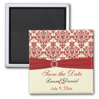 Cream and Red Damask Save the Date Magnet