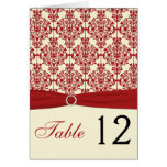 Cream and Red Damask Table Number Card Cards