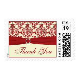Cream and Red Damask Thank You Postage