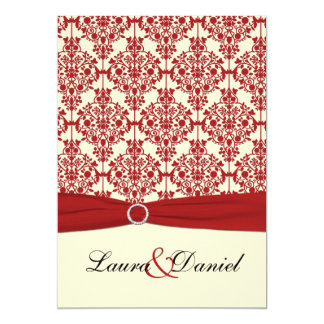 Cream and Red Damask Wedding Invitation