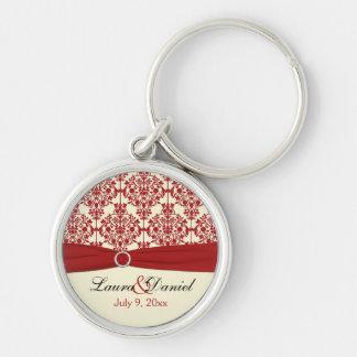 Cream and Red Damask Wedding Keepsake Keychain