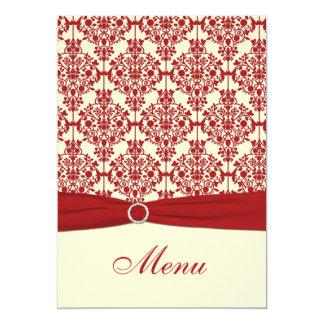 Cream and Red Damask Wedding Menu Card