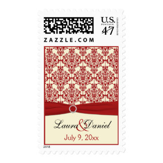Cream and Red Damask Wedding Postage