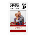 Cream and Red Save the Date Wedding Stamps