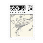Cream and Slate Grey Plume Left Postage Stamp