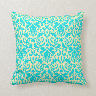 Cream and Tiffany Blue Damask Throw Pillow