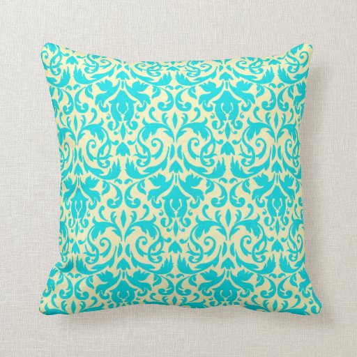 cream and tiffany blue damask throw pillow zazzle. Black Bedroom Furniture Sets. Home Design Ideas