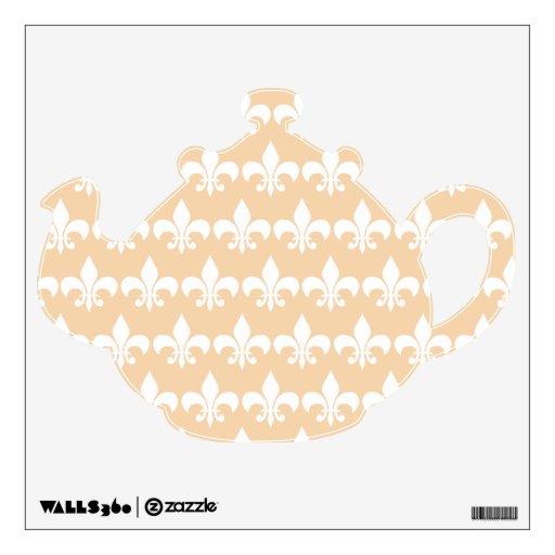 Cream and White Fleur de Lis Tea Pot Wall Decal  Zazzle