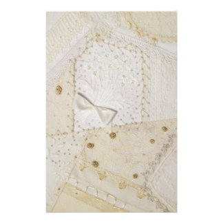 Cream And White Patchwork Design Stationary Stationery