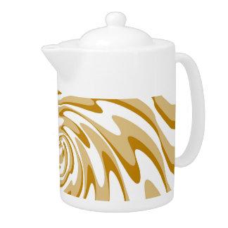 Cream and White Wave Swirl Decorative Art 2 Teapot