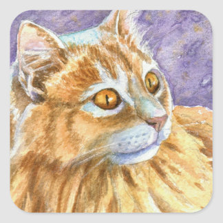Cream Angora Cat Square Sticker