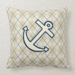 Cream Argyle Anchor Pillow