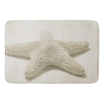 Beach Themed Cream Beach Starfish Bathroom Mat