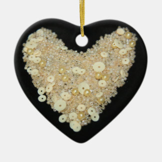 Cream Bead and Sequins Heart Ornament