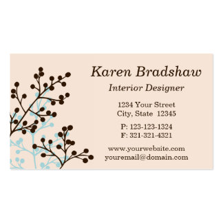 Cream & Beige Floral Interior Design Business Card Business Card