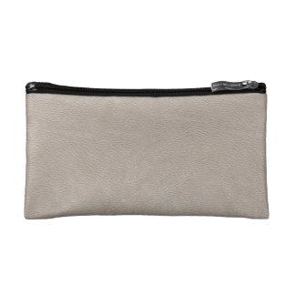 Cream beige leather texture cosmetic bag