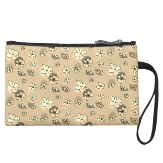 Cream Beige Mini Scatter Flowers Suede Wristlet
