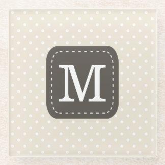 Cream Beige Polka Dot Pattern Personalized Letter Glass Coaster