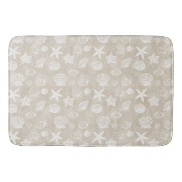 Beach Themed Cream Beige White Beach Shells Bath Mat