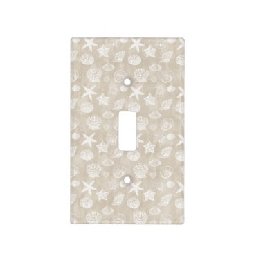 Beach Themed Cream Beige White Beach Shells Light Switch Cover