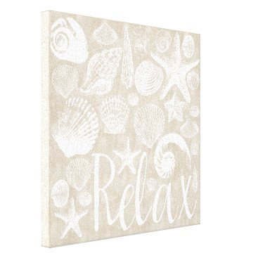 Beach Themed Cream Beige White Beach Shells Relax Canvas Print