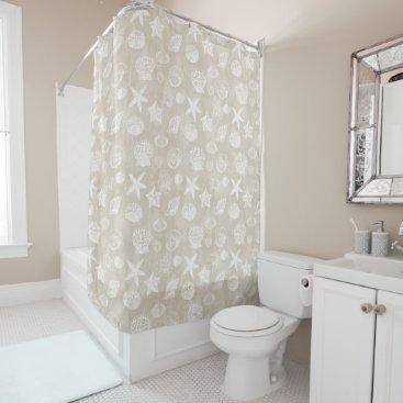 Beach Themed Cream Beige White Beach Shells Shower Curtain