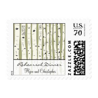 Cream Birch Tree  Choose background color Postage Stamps