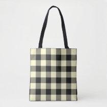 Cream & Black Buffalo Tote Bag