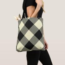 Cream & Black Crossed Buffalo Tote Bag