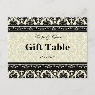 Cream & Black Damask Gift Table Card postcard