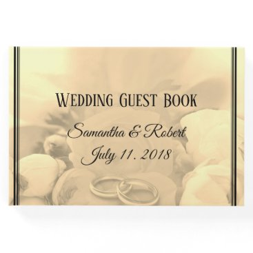 Wedding Themed Cream & Black Floral Roses with Wedding Rings - Guest Book
