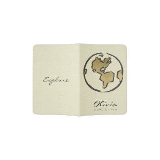 CREAM BLACK GOLD SKETCH EARTH LEATHER MONOGRAM PASSPORT HOLDER