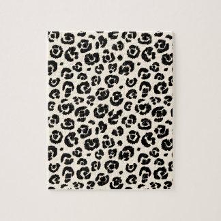 Cream Black Leopard Print Jigsaw Puzzle