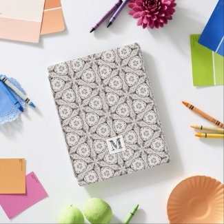 Cream & black ornamental pattern monogram initial iPad smart cover