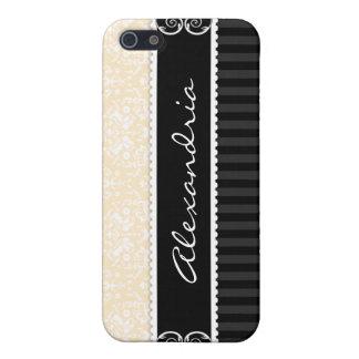 Cream &Black Personalized Damask iPhone 4 Case