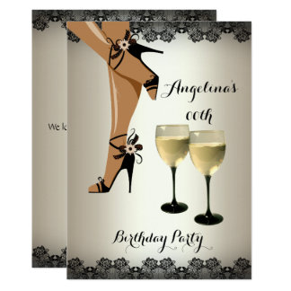 Cream Black Shoes Wine Glass Birthday Party Card