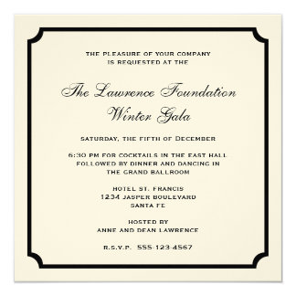 Cream black square frame corporate holiday formal card