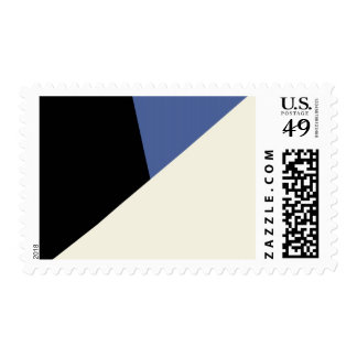 Cream, blue and black abstract geometric pattern stamp