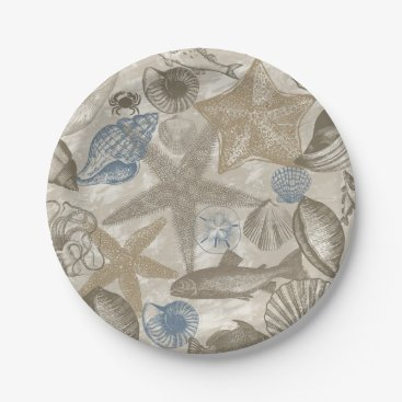 Beach Themed Cream Blue Beach Sea Shells Paper Plate