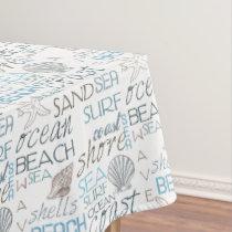 Cream Blue Beach Shells Tablecloth