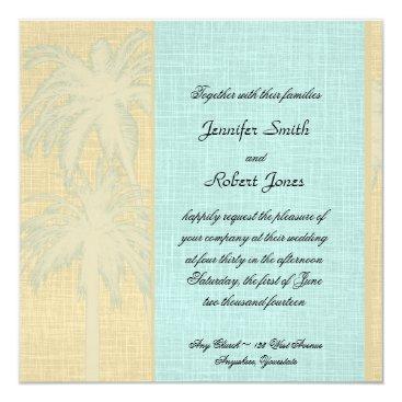 Beach Themed Cream Blue Palm Trees Wedding Invitation