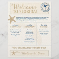 Cream & Blue  Starfish Welcome Florida Letter