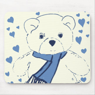 Cream & Blue Teddy Bear Mouse Pad