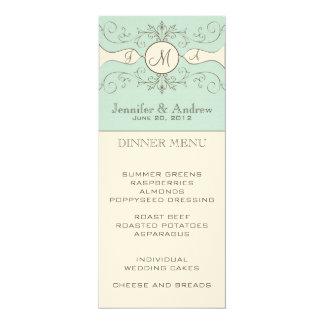 Cream Blue Vintage Wedding Menu Card