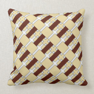 Cream/Brown Diagonal Pattern Reversible Cushion Throw Pillow
