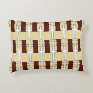 Cream/Brown Pattern Reversible Accent Pillow