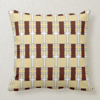 Cream/Brown Shadow Pattern Reversible Cushion Throw Pillow