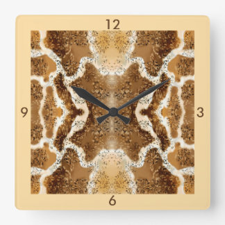Cream, Brown, White Pattern Wall Clock 4 Home