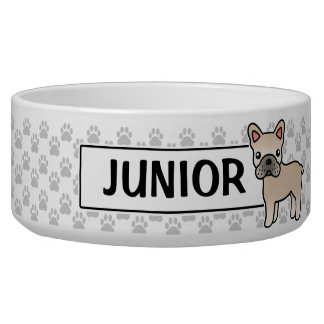 Cream Cartoon French Bulldog Bowl