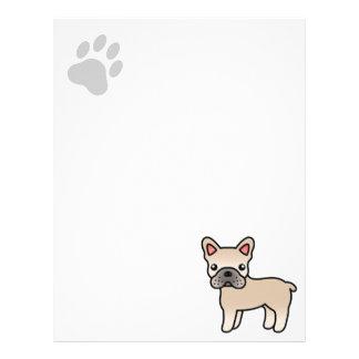 Cream Cartoon French Bulldog Letterhead